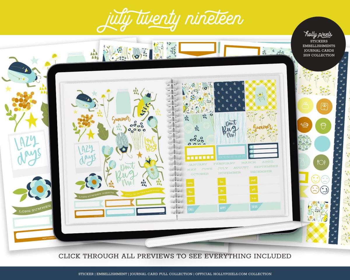 The lazy days of summer are here! Explore nature with the July Pixel pack for your digital planner! This set is a bundled version we sold in 2019 featuring our digital planner stickers, journal cards and embellishments for one low price! Savings of $6 gets you a great collection to start digital planning.