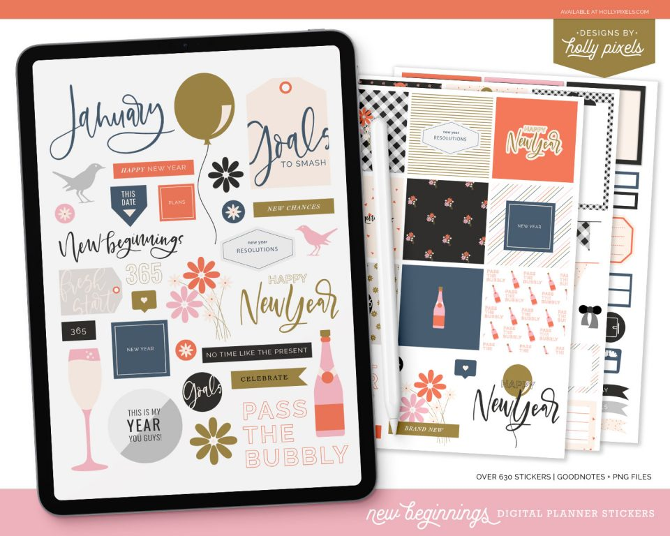 Happy New Year! These new beginnings digital planner stickers will make planning for the new year fun and pretty at the same time in your digital planner.