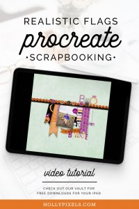 This scrapbooking technique for Procreate is super cute and fun showing how to make these little realistic hanging flags for a fun Halloween scrapbook layout.