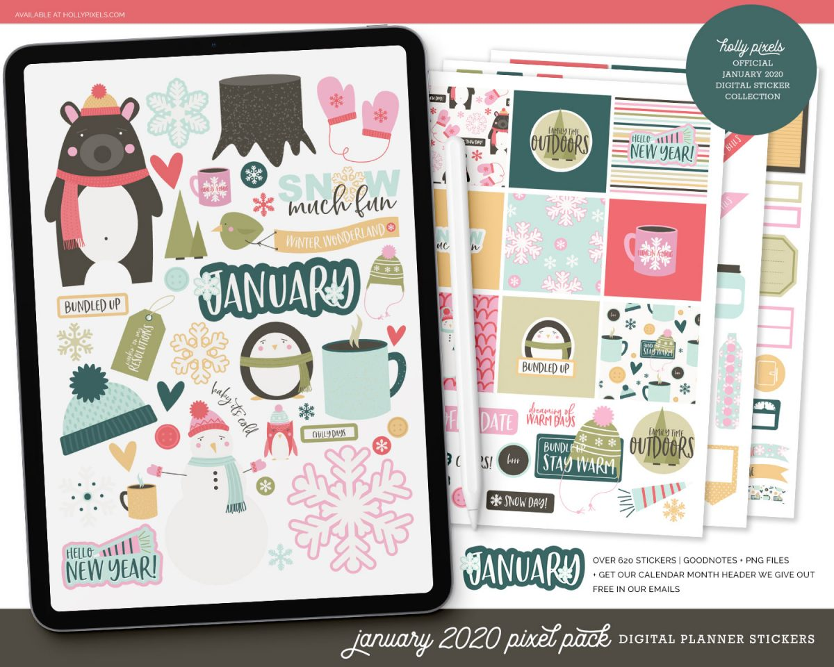 Are you new to digital planning? Use our January planner stickers for your digital planner and get super creative. Plus, we have a fun bullet journal starter pack for Procreate ready to get your 2020 in order.
