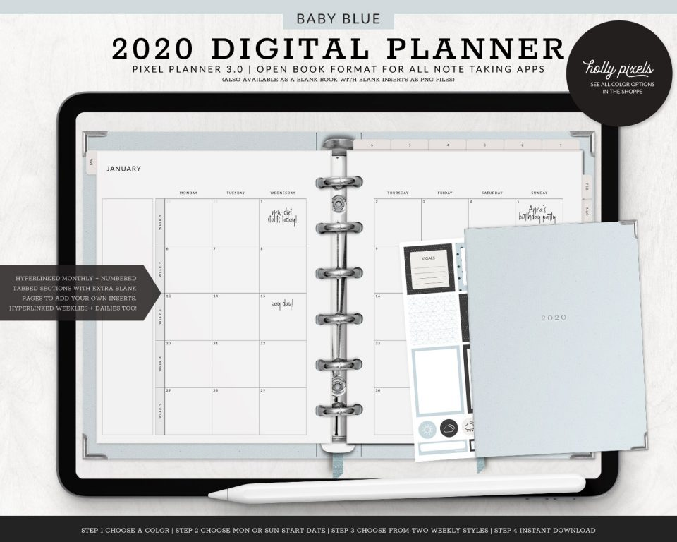 Digital plan on the go with your tablet! This digital planner is dated and includes hyperlinks to individual weeks and days of the year to make planning fun, creative, and effective. Learn more about this fun planner below!