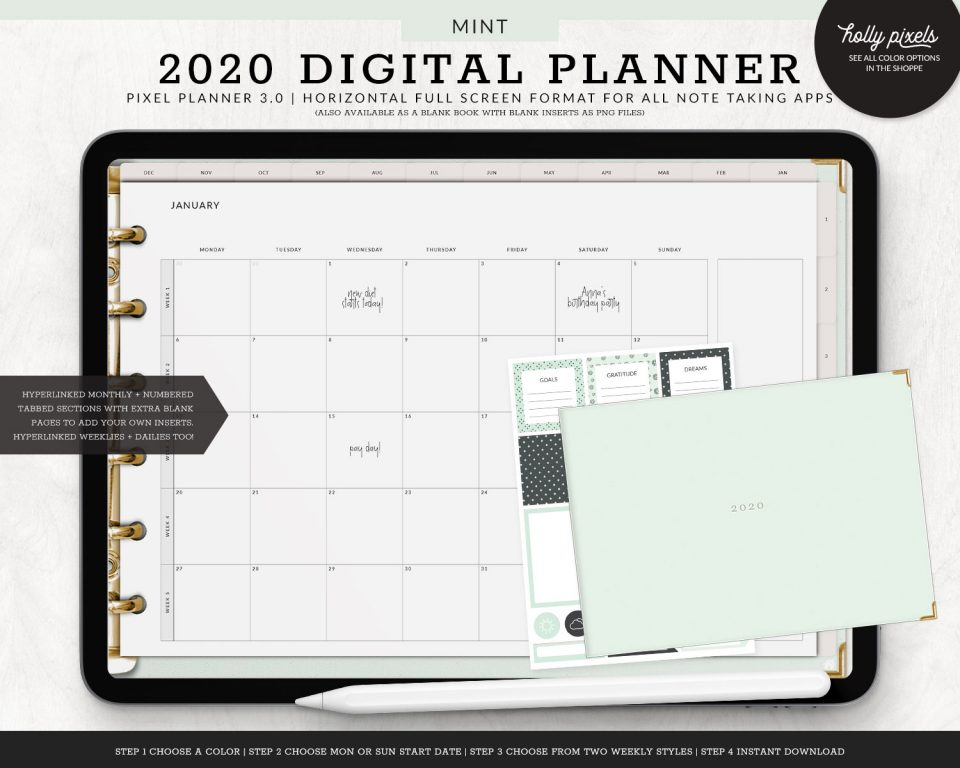 Digital plan on the go with your tablet! This digital planner is dated and includes hyperlinks to individual weeks and days of the year to make planning fun, creative, and effective.