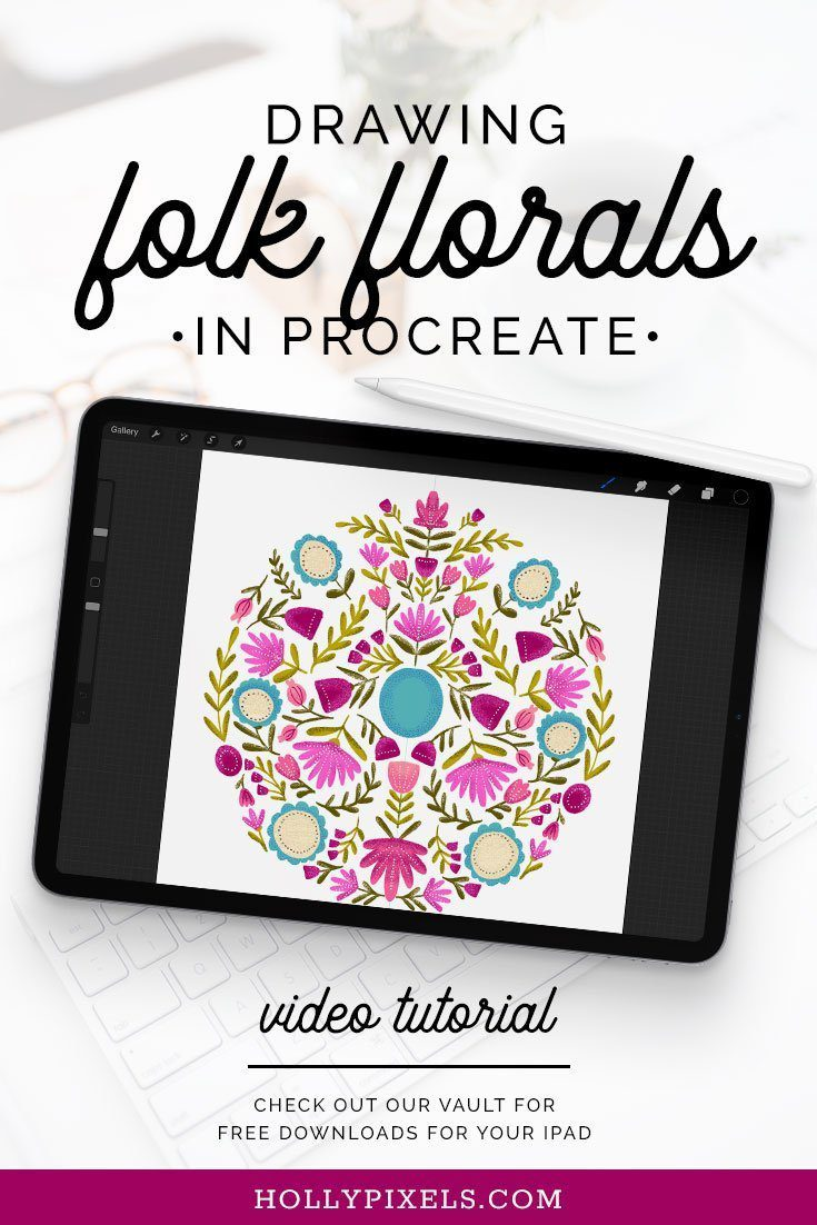 Drawing folk florals in Procreate has never been easier!