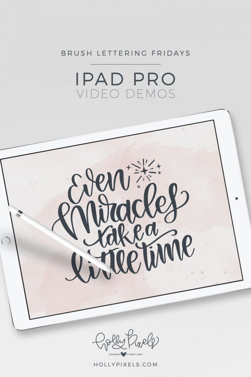It's time for another brush lettering on iPad Pro Friday! This month I'm sharing my SVG Friday Freebies lettering so here is