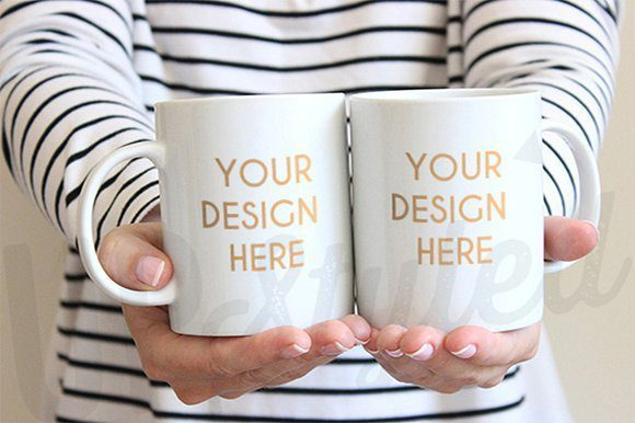 I've always loved using stock images from Upstyled on Creative Market. Her work is trendy and doesn't look cheesy. I love this double coffee mug stock image because sometimes you have matching designs that need to be shown side by side!