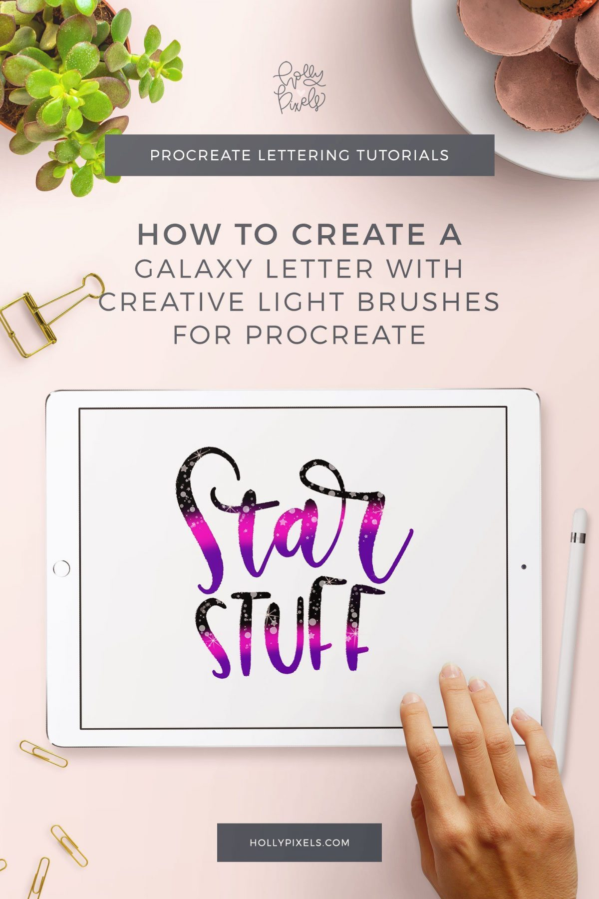 It's time for another iPad Lettering Tutorial! A while back I showed you how you can make a galaxy background in Procreate but this time I wanted to teach you how easy it is to use my new Procreate brushes to create galaxy letters for a fun effect in your iPad Brush Lettering.