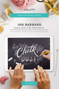 This week's Procreate brushes review features Chalk Lettering Procreate Brushes by PicbyKate that can be purchased at Creative Market.