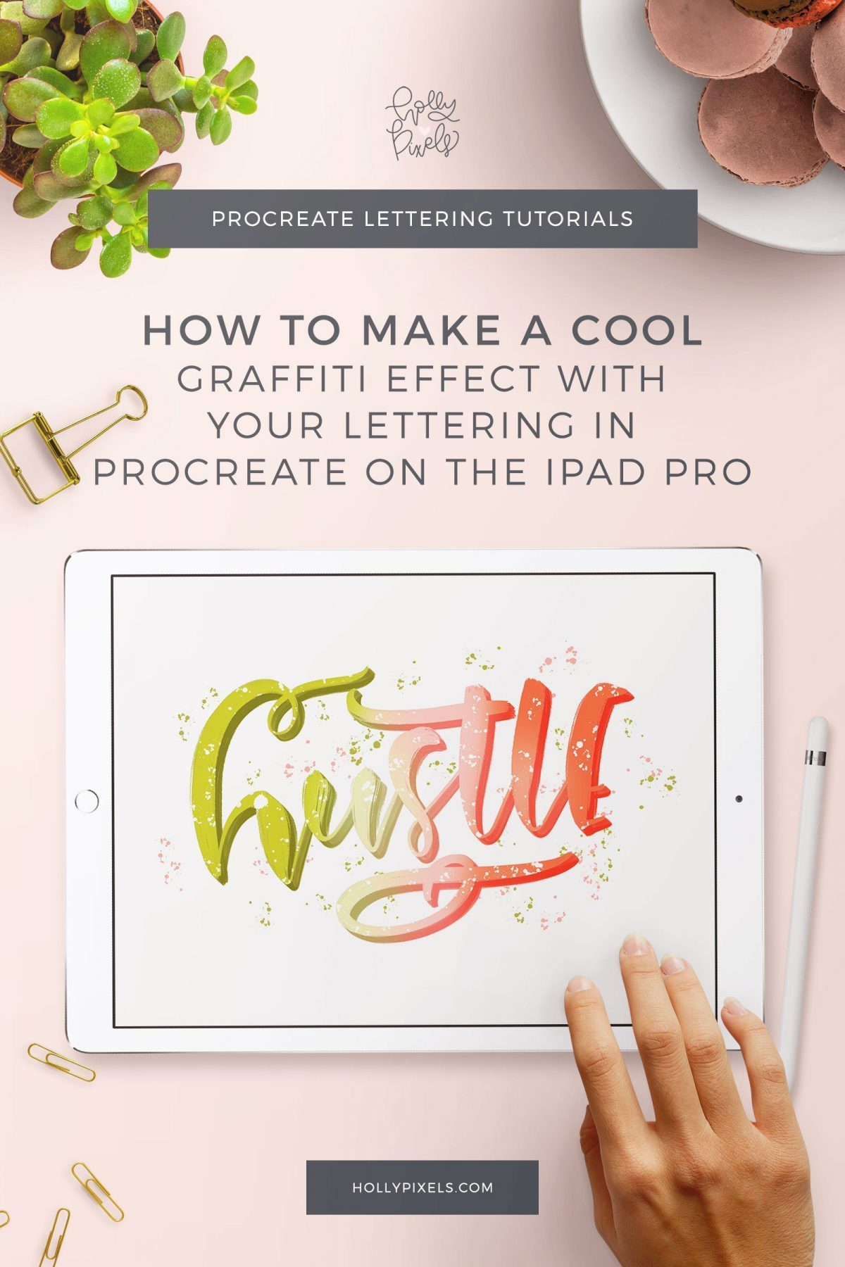I love this fun graffiti effect in Procreate. It's easy to recreate and can take your lettering to a new level other than the boring flat styles. Create a gradient spray painted look and a fun 3d shadow with splatters of paint for your iPad Lettering this week.