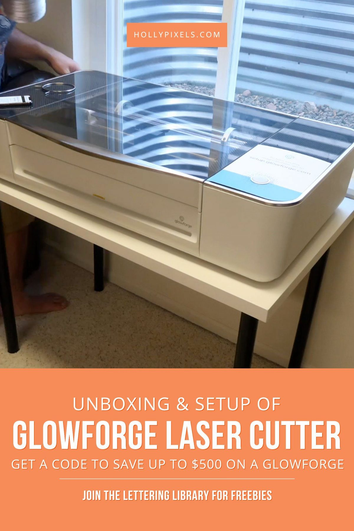 In today's post and video I'm going to be showing you the Glowforge Pro Unboxing and setup. We recently purchased this laser cutter for a separate entity of my business that doesn't have much to do with Holly Pixels. But, I wanted to showcase it here to show you ways you can turn your lettering into a business.