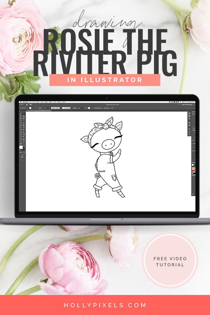 How I Vector Rosie The Riveter Pig in Adobe Illustrator