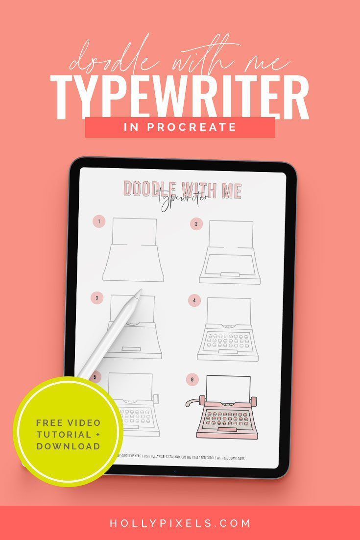 This cute typewriter is our theme for this month's new Doodle With Me video. I want to help you learn to draw in Procreate!