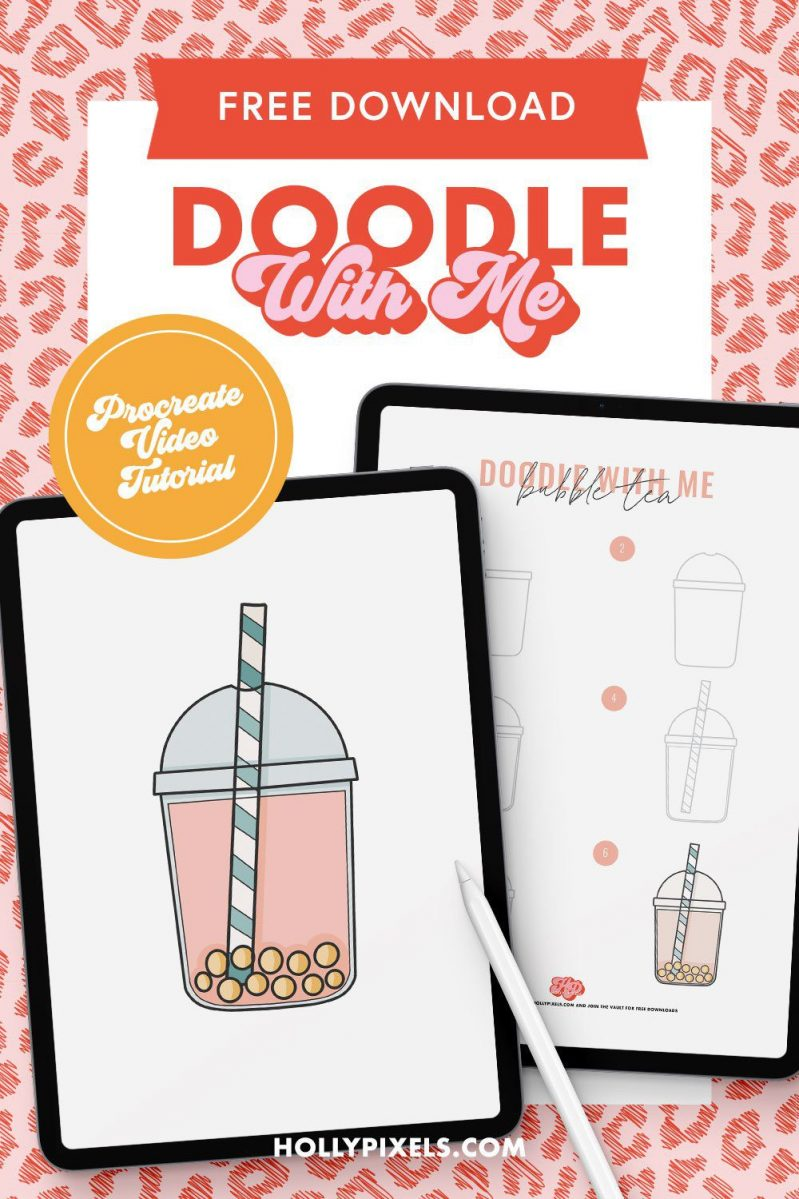 Come doodle with me in Procreate. I'll be showing you how to draw bubble tea in this cute cartoon style with my free Procreate video tutorial.