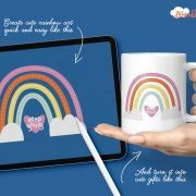 The Dreamland Procreate brushes are a fast rainbow builder set to create dreamy rainbows and super cute projects with your art and lettering.