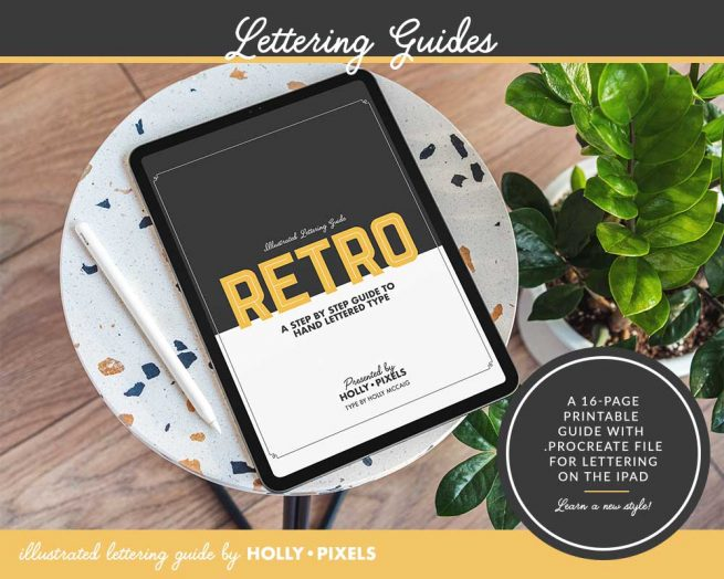 Learn a retro lettering style in this lettering guide for Procreate. These practice sheets can be printed or placed in your iPad to improve your iPad lettering!