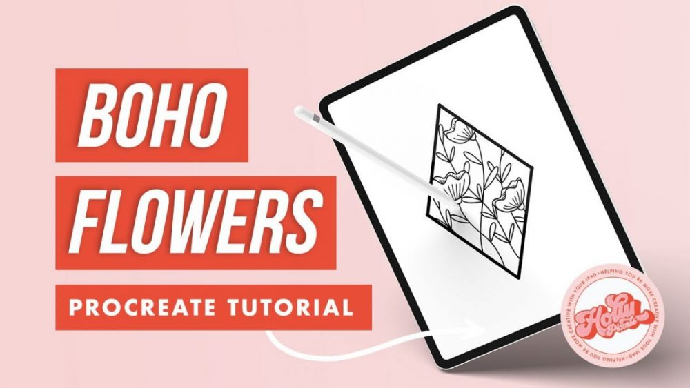 If boho is your thing, then you'll love learning how to make pretty floral boho line art in Procreate with me. Today we're going to make this pretty artwork!