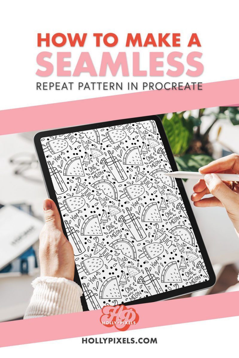 Learn how to make a repeat seamless pattern in Procreate with this Procreate Tutorial from Holly Pixels. I'll walk you through how easy it is to make and then you can make your own coloring pages! Follow this tutorial for Procreate a hollypixels.com.