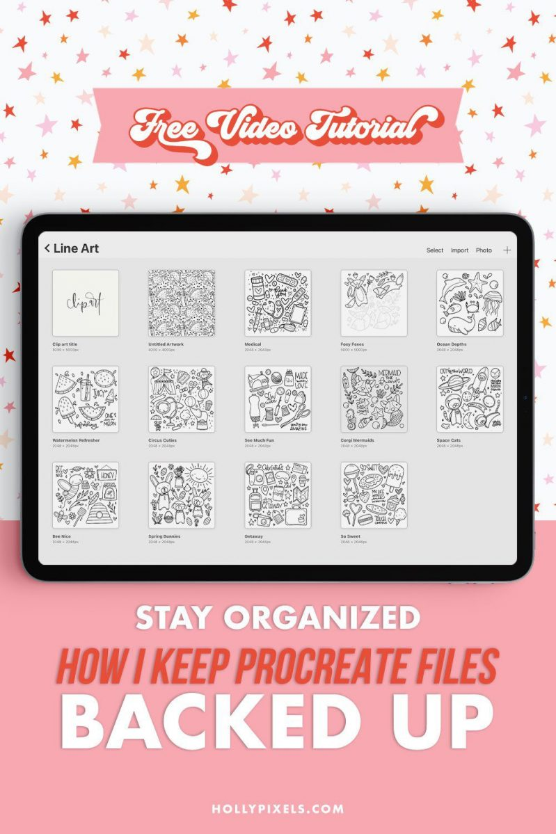 In this video, I'll show you how I keep my Procreate files organized and back up so I can always access them. I know many of you are visual learners (like me) and even learning new ways to organize your Procreate app files can be helpful to you. For more Procreate tutorials be sure to head over to hollypixels.com where I help you be more productive on your iPad.